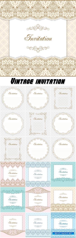 Vintage invitation, calligraphy vector