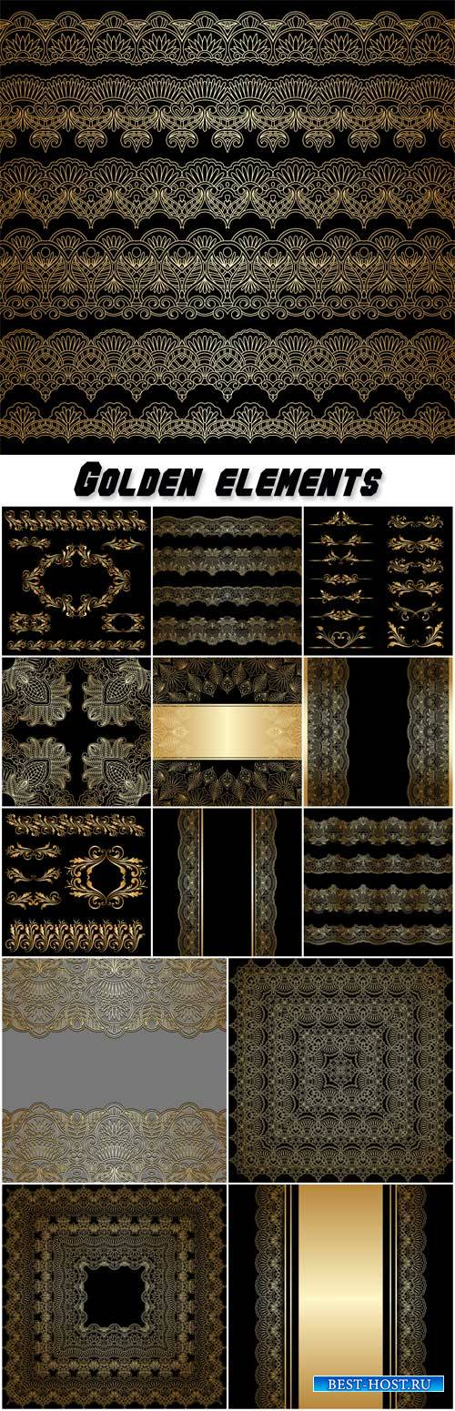 Golden elements in the vector, pattern, ornament, borders