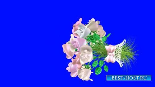 Футаж - Летящий букет невесты на хромакее