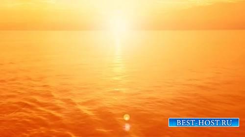 Футаж - Золотой закат на море