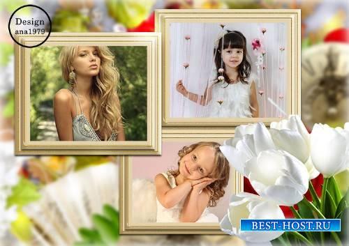 Рамка для фотошопа – Букет белых тюльпанов