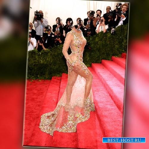 Шаблон для фотошопа - В необычном платье на красной дорожке