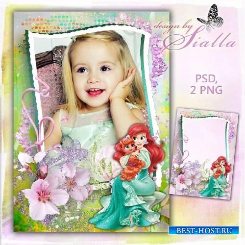 Детская фоторамка для фотошопа - Русалочка Ариэль и её питомец