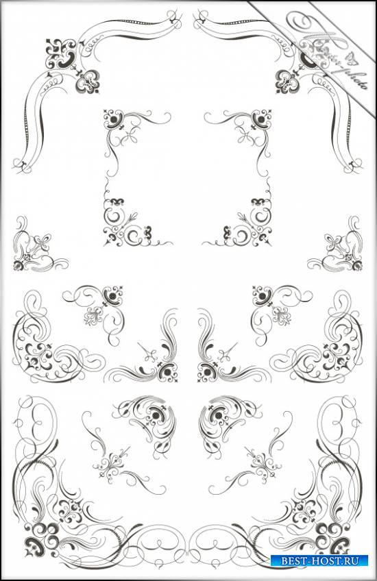 PSD исходник для фотошопа - Декоративные уголки №3