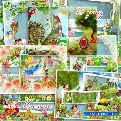 Детские рамки для фото в png с героями мультфильмов - Любимые сказки