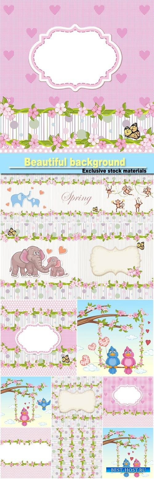 Beautiful background with flowers, butterflies and birds #4
