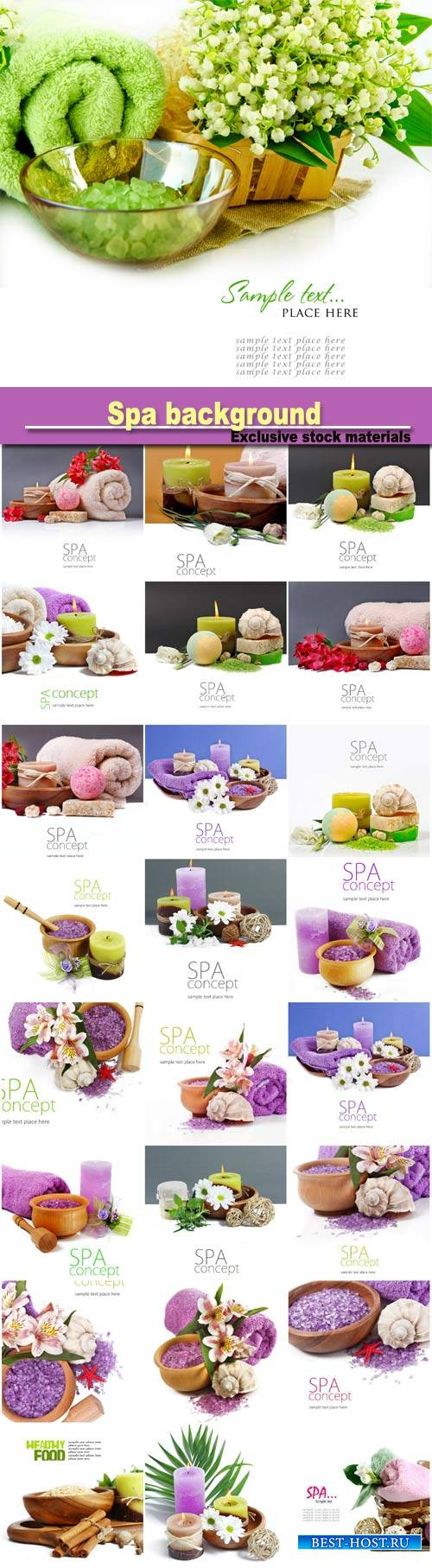Spa background with flowers and candles