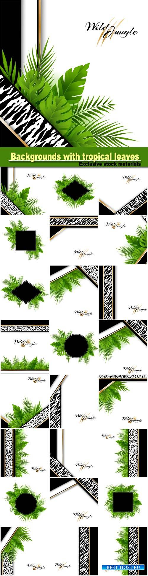 Vector abstract backgrounds with tropical leaves