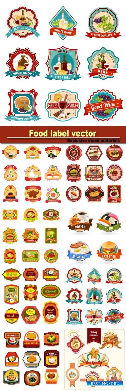 Food label vector