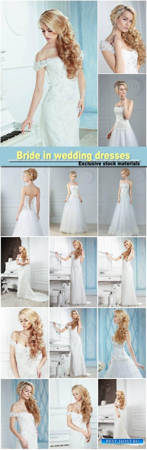Bride in long wedding dresses
