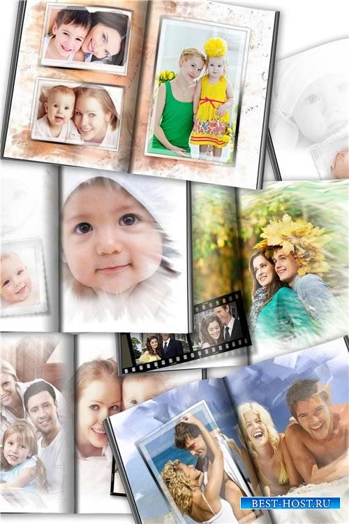Развороты семейной фотокниги для фотографий