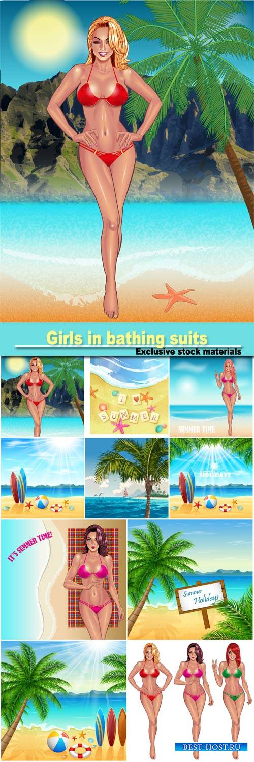 Girls in bathing suits, beach vacation