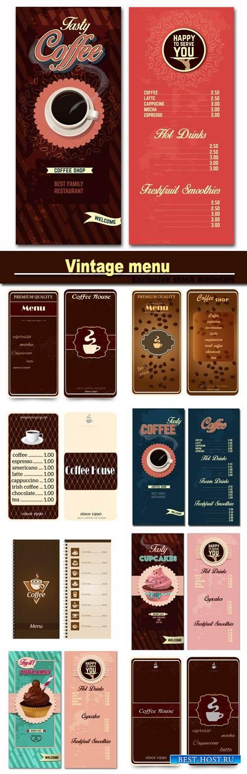 Vintage menu, coffee and cakes