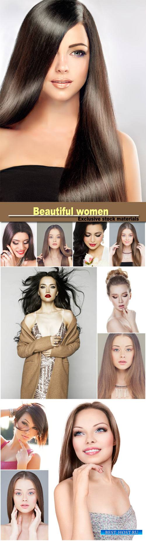 Beautiful women with different hairstyles, make-up
