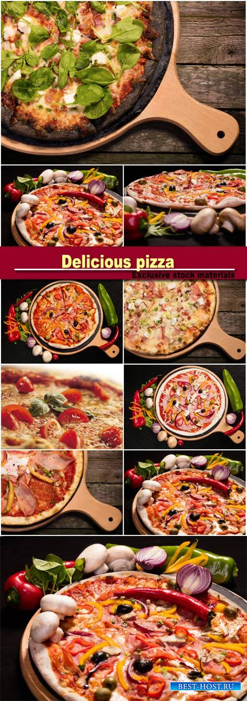Delicious pizza, meat, vegetables, mushrooms