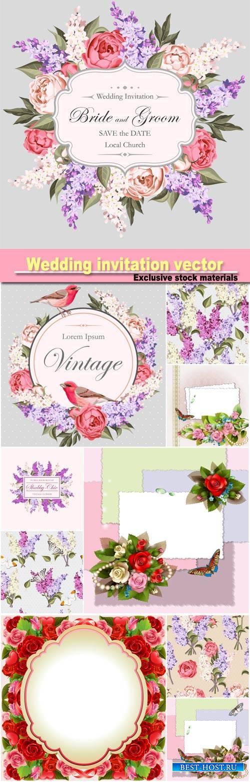 Wedding invitation vector, floral