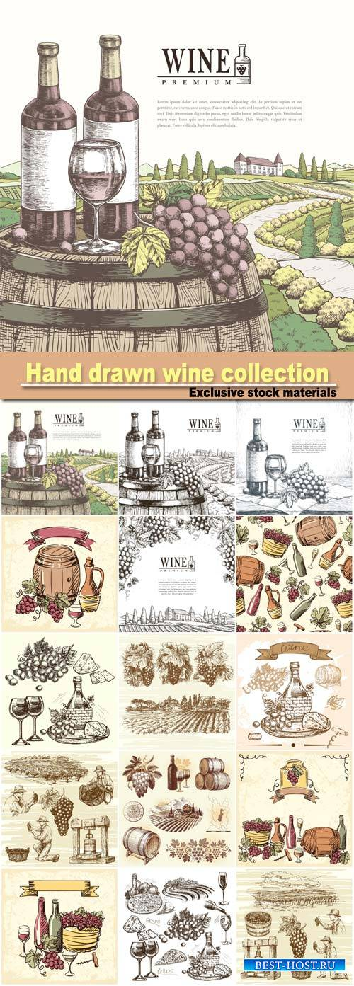 Hand drawn illustration wine collection