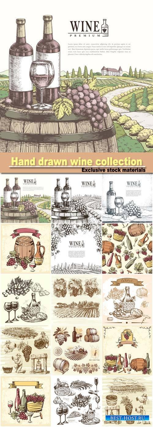 Hand drawn illustration wine collection