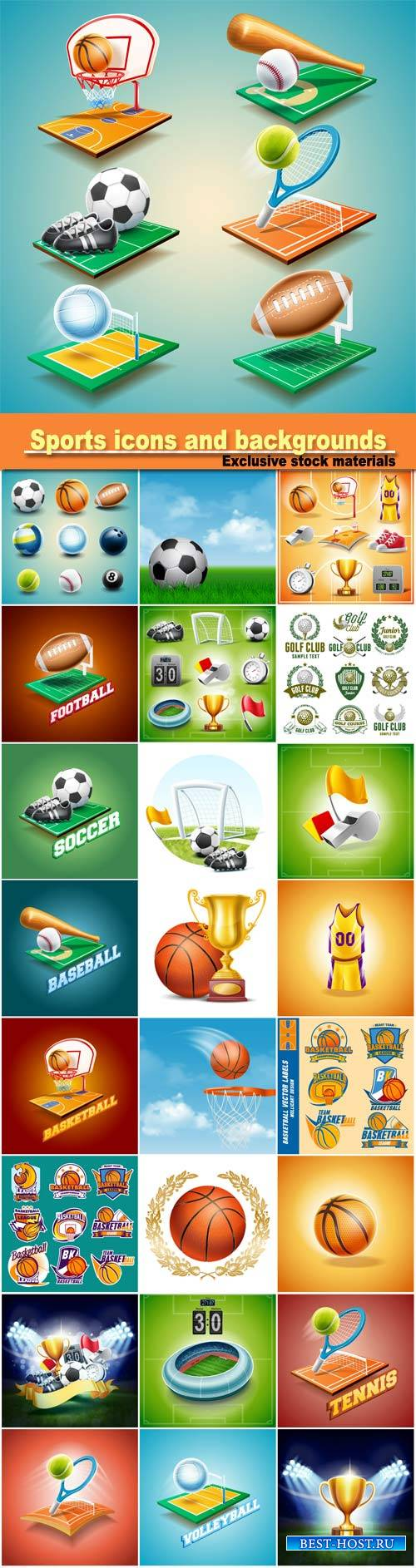 Sports icons and backgrounds vector, football, basketball, golf, baseball