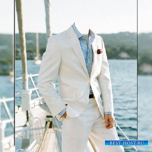 Фотошаблон - В белом костюме на своей яхте