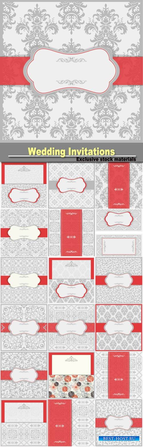 Wedding Invitations, vector backgrounds with patterns #6