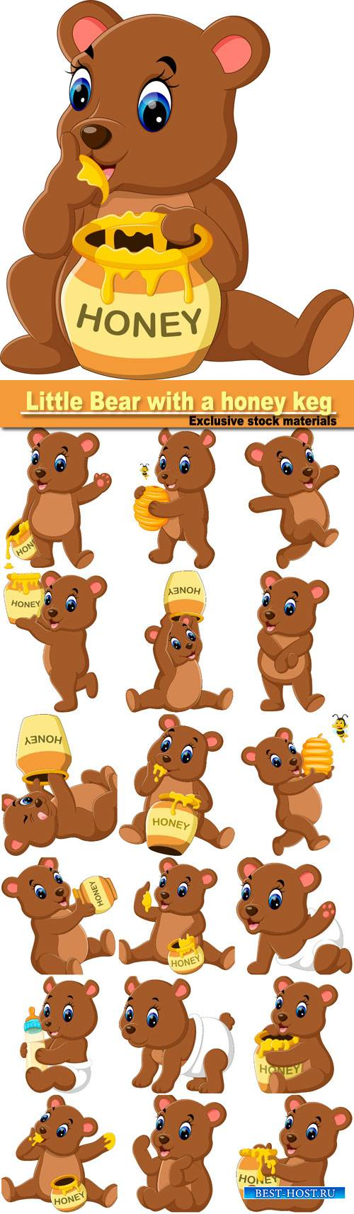 Little Bear with a honey keg