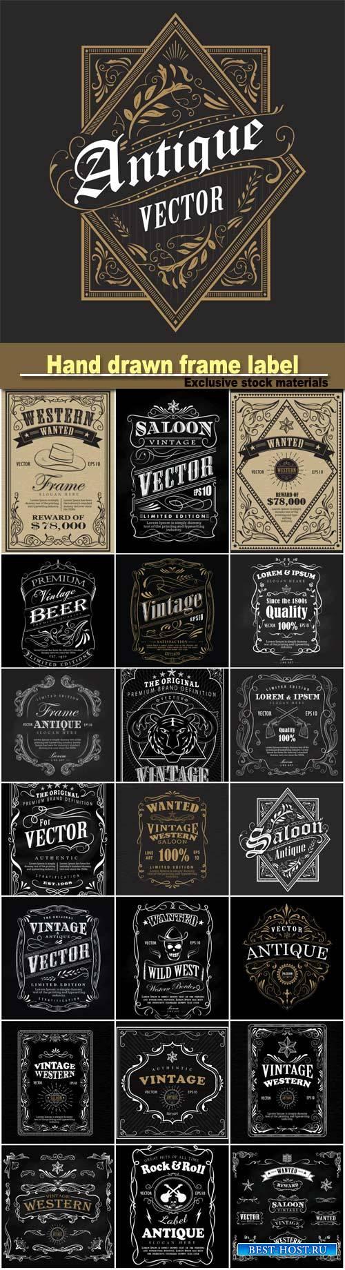 Hand drawn label, blackboard retro vintage wanted banner, vector illustrati ...