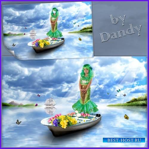 Шаблон для девочки - Русалочка на лодочке с цветами