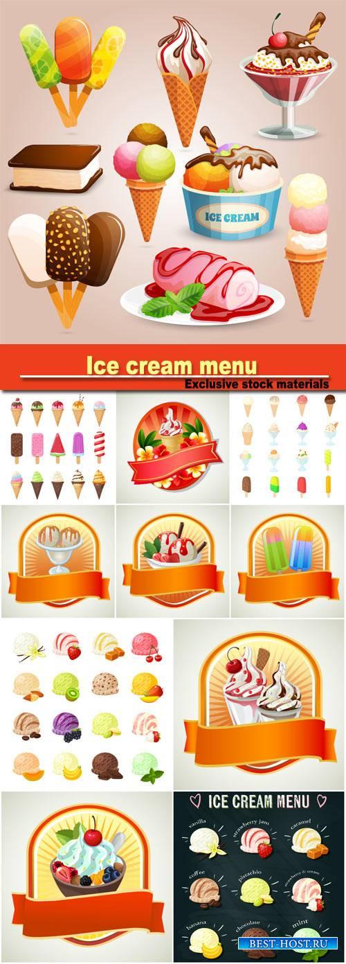 Ice cream menu, labels summer vector