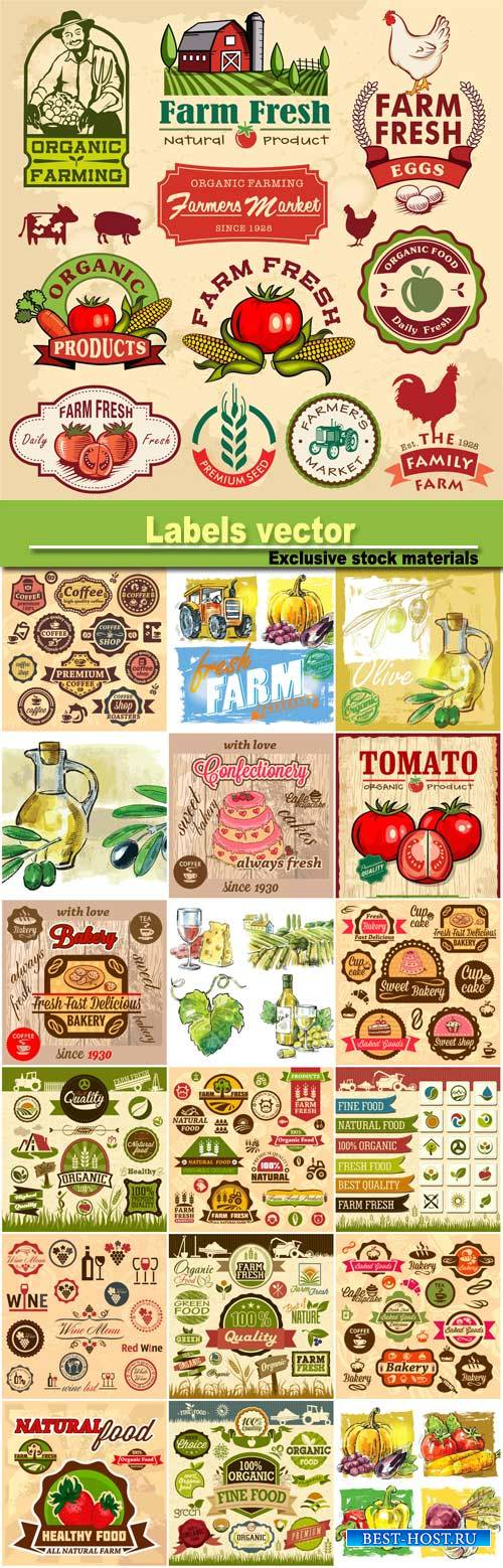 Labels vector, organic food, vegetables, cakes, coffee
