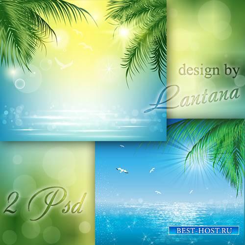 Многослойные фоны - Море, чайки, пальмы, тишина