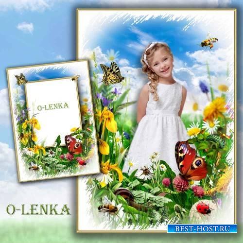 Рамка коллаж - Летают пчёлы над цветами, порхают бабочки вдали