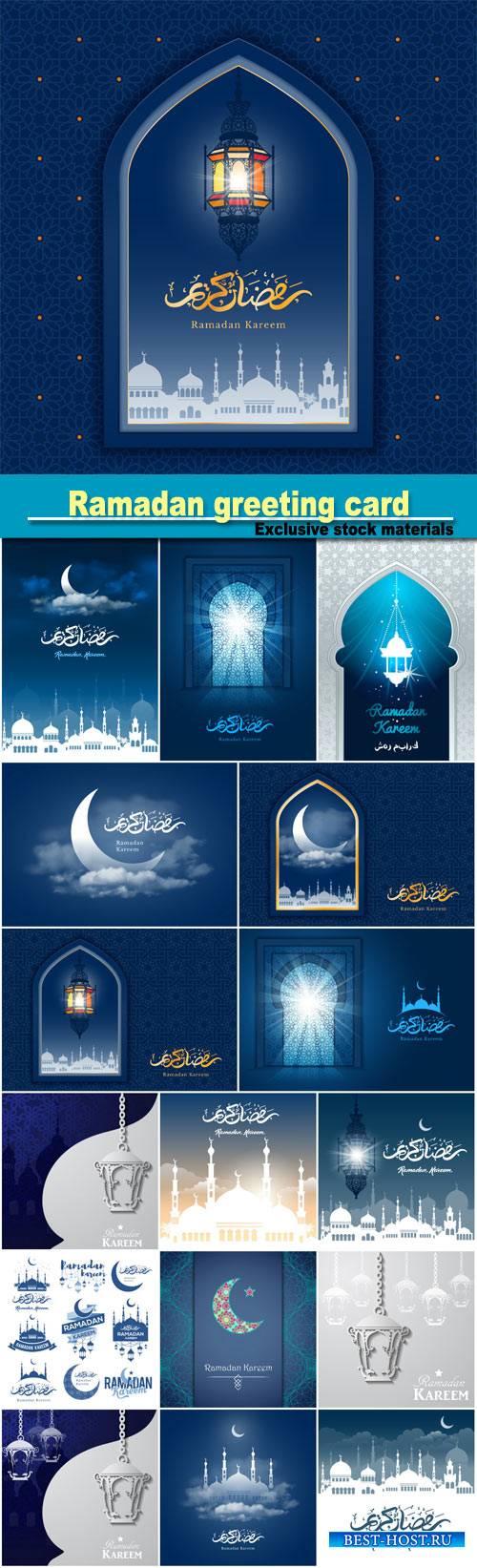 Ramadan greeting card, vector background