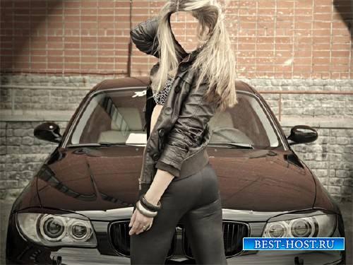 Photoshop шаблон - Девушка возле BMW
