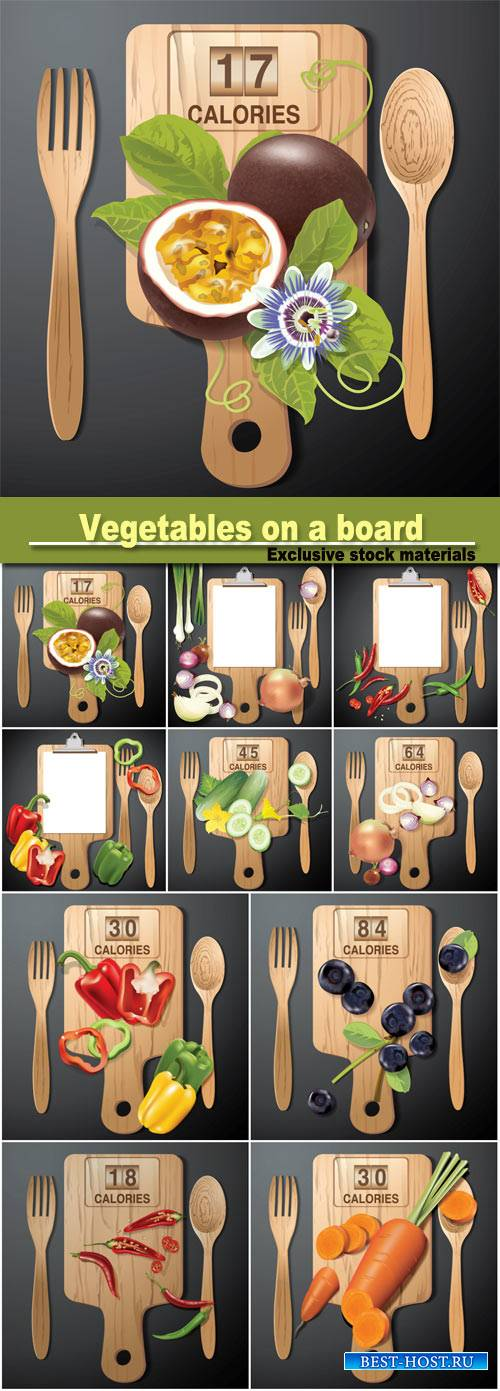 Vegetables on a wooden board, vector backgrounds