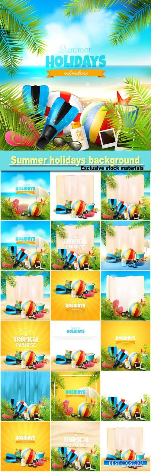 Summer holidays background, sea, beach, palm trees