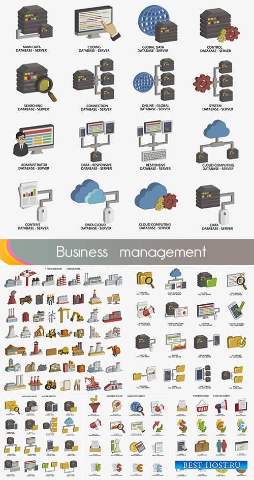Векторные иконки бизнес и строительство