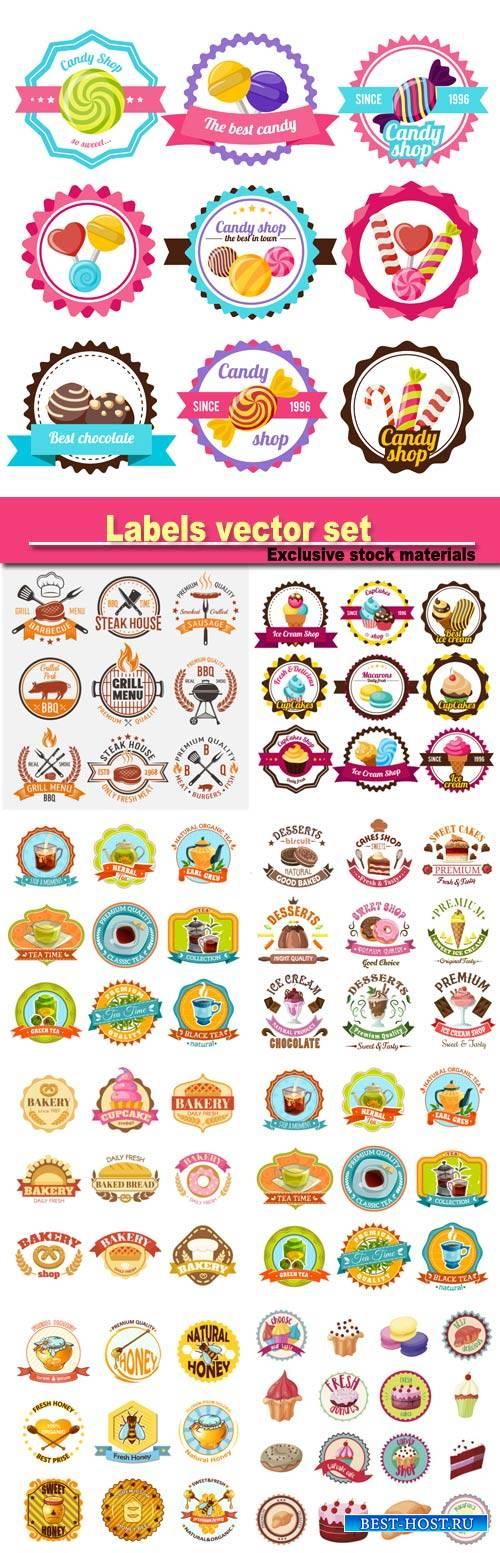 Labels vector, confectionery, beverages, honey