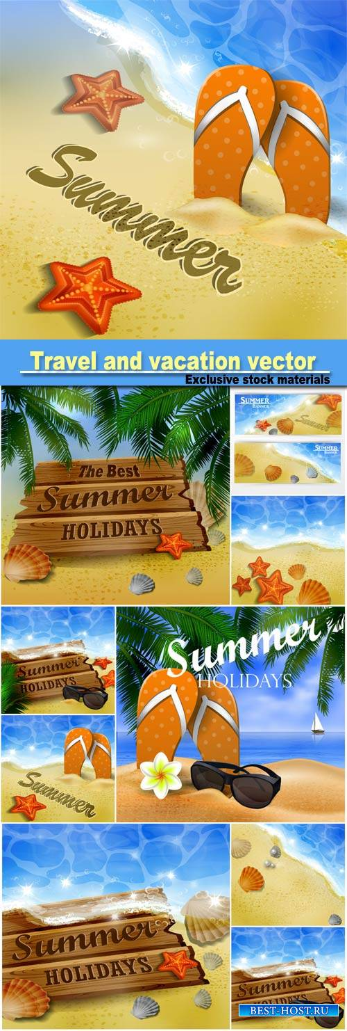 Beautiful beach top view, travel and vacation vector banners #4