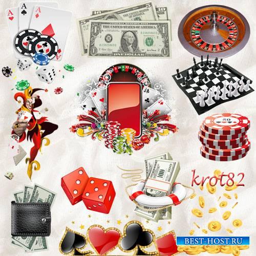 Клипарт  PNG для фотошопа – Игральные карты, деньги, казино, игральные кубики
