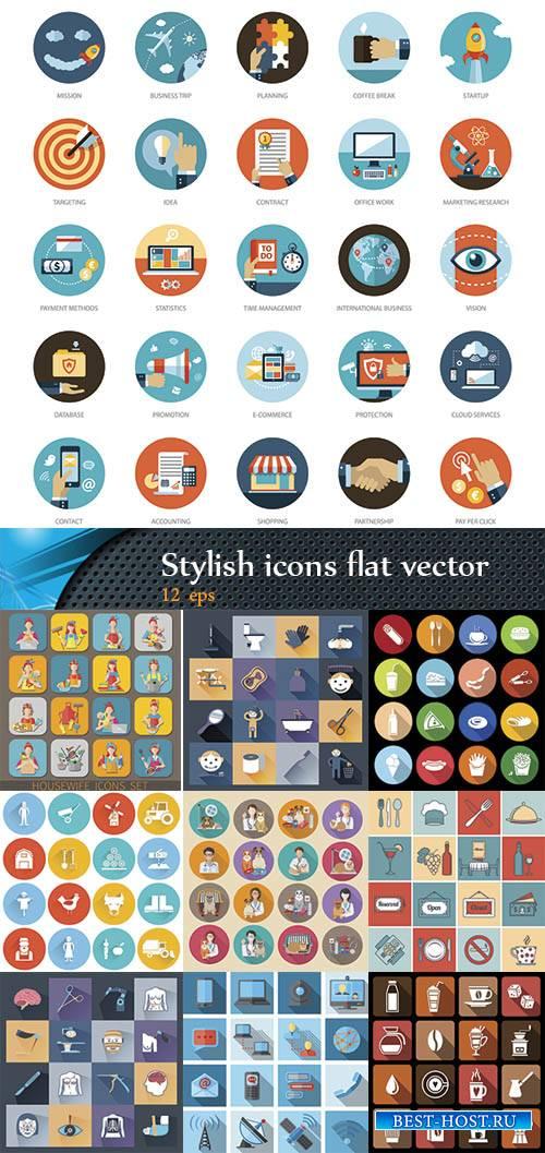 Стильные flat иконки на разную тему