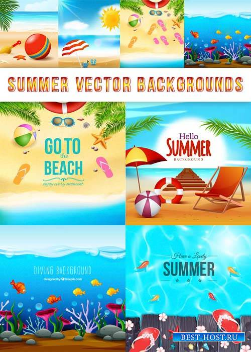 Летние векторные фоны - Море, песок, пляж