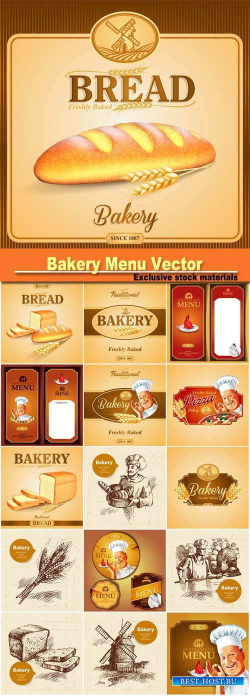 Bakery menu vector backgrounds, banners, labels
