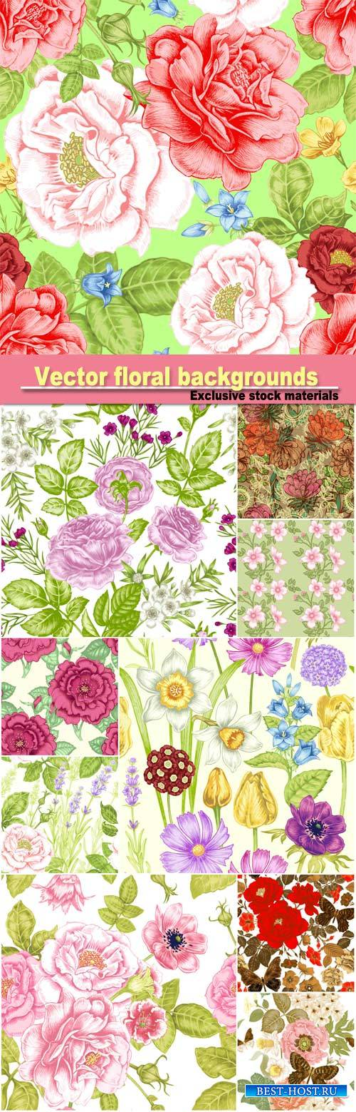 Vector floral backgrounds, butterflies and flowers