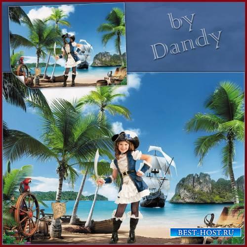 Шаблон для девочки - Пиратка на острове сокровищ