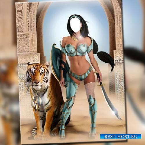 Шаблон женский - Принцесса с тигром