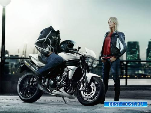Шаблон для фотошопа - Байкер на мотоцикле с девушкой