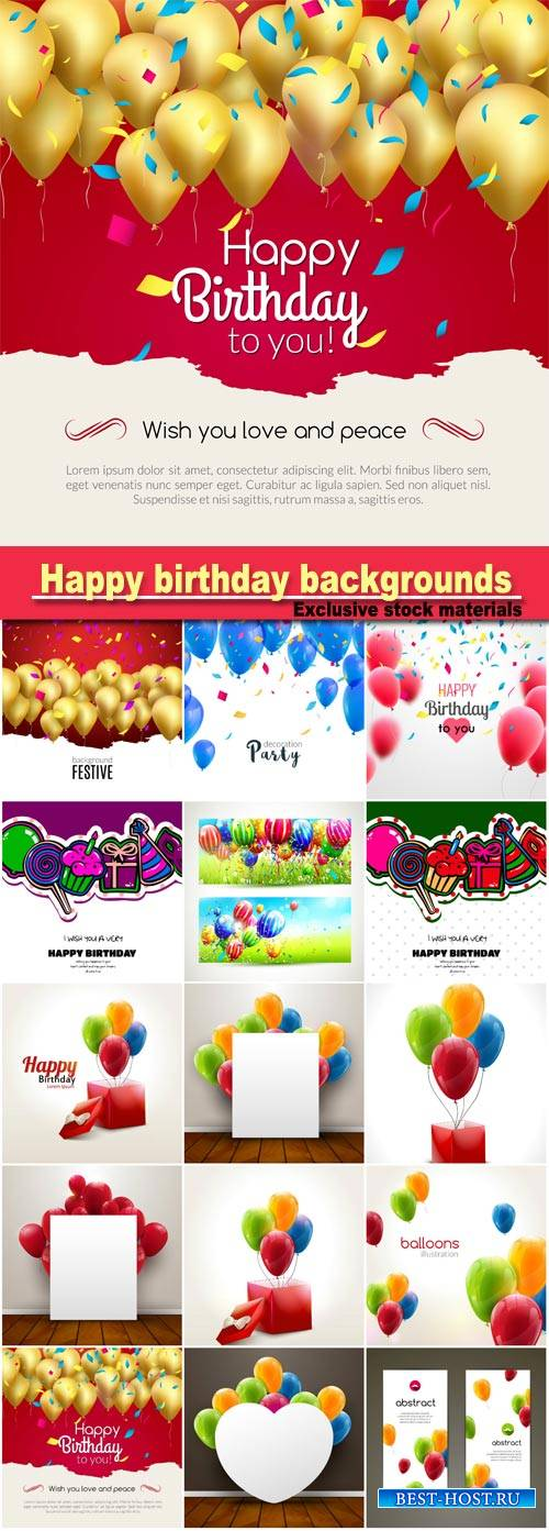 Happy birthday backgrounds, balloons vector