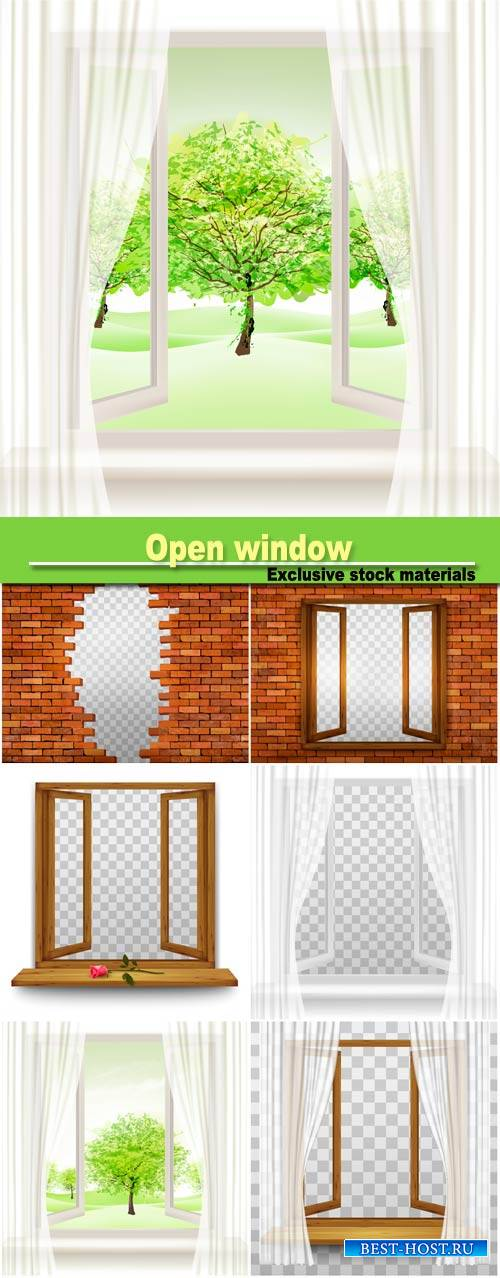 Open window with transparent curtain
