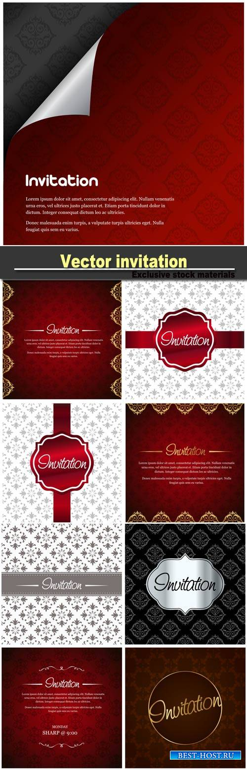 Vector invitation with floral designs
